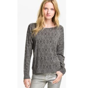 Current/Elliot Gray Letterman Lace Long Sleeve Top